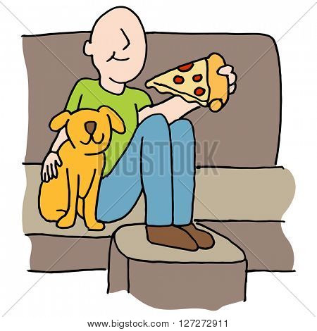An image of a Man eating pizza slice with dog on sofa.