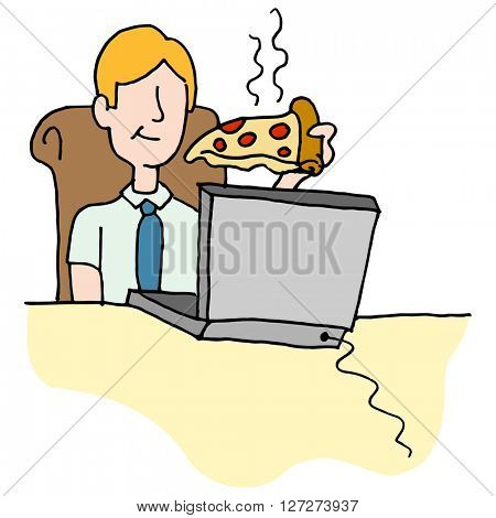 An image of a Man eating pizza slice while working.
