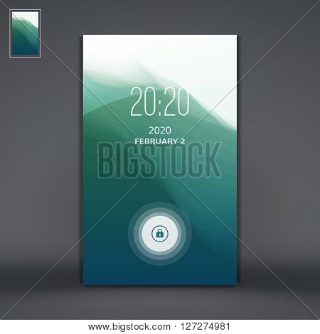 Modern Lock Screen for Mobile Apps. Water Wave. Vector Illustration.