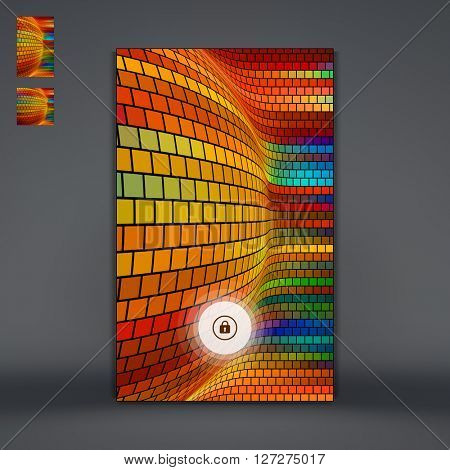 Modern Lock Screen for Mobile Apps. Smartphone with Closed Lock. Mosaic. Abstract Background. Vector Illustration.