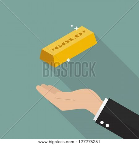 Hand with gold ingot. Flat style design with long shadow