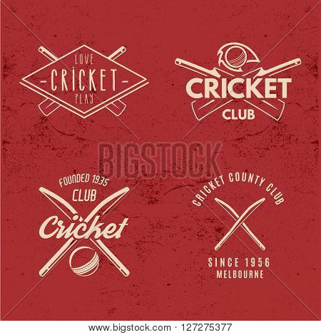 Set of Retro cricket club emblems design. Cricket logo icon design. Cricket badge. Sports logo symbols with cricket gear, equipment. Cricket tee design. Tee shirt emblem. T-Shirt prints retro style