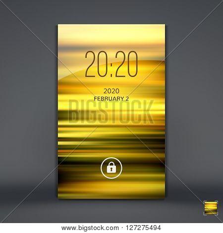 Modern Lock Screen for Mobile Apps. Mobile Wallpaper. Vector Illustration.