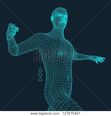 3D Model of Man. Geometric Design. Business, Science and Technology Vector Illustration. Polygonal Covering Skin. Vector Illustration.