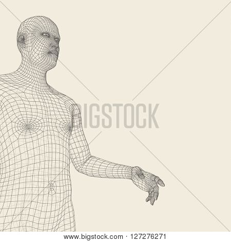 Man Pointing his Finger. 3D Model of Man. Geometric Design. Human Body Wire Model.