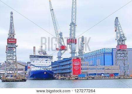 Helsinki, Finland - March, 14, 2016: boats in a harbour of Helsinki, Finland