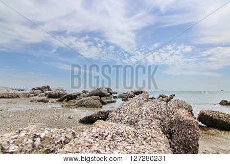 Huahin beach blue sky background in Phetchaburi Thailand