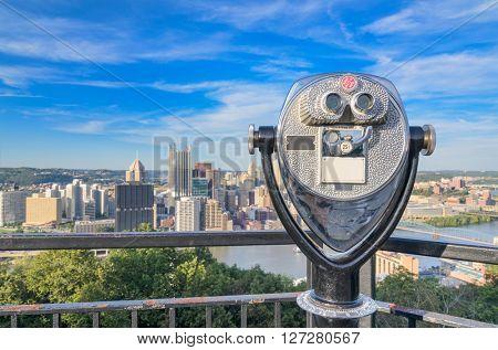 Binoculars for viewing the Pittsburgh, Pennsylvania skyline.