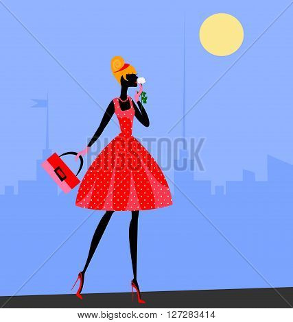 walking girl in red in the abstract sity