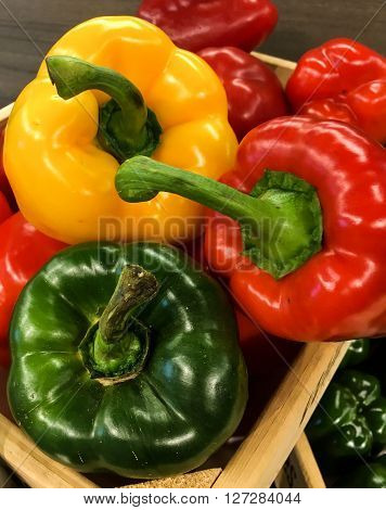 Peppers in Complementary colors, shot in a supermarket