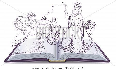 Tale of Cinderella. Open book fantasy tale. Fairy and Cinderella with the glass slipper. Illustration in vector format