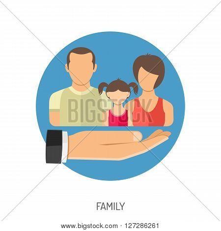 Family Insurance Flat Icon for Web Site, Advertising with Hand.