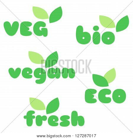 Veg bio vegan eco fresh symbols with leaves vector set