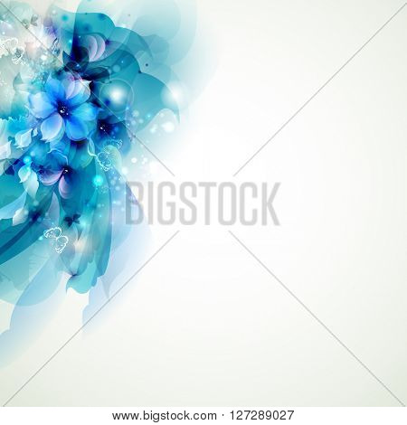 blue composition with abstract flowers
