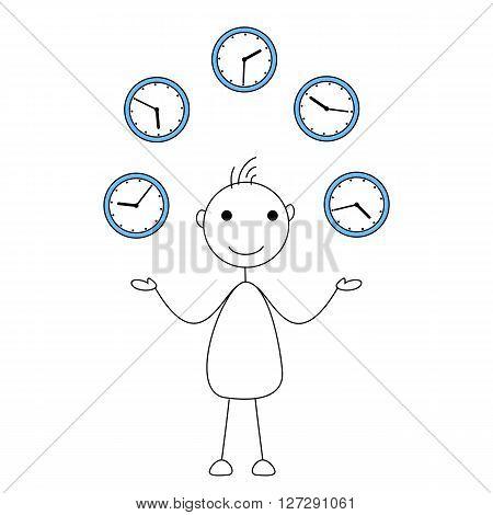 Cartoon stick figure juggling clocks. Time management concept