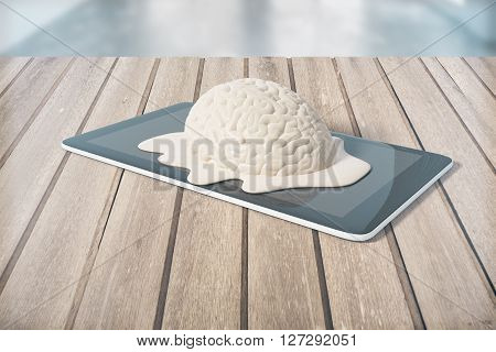 Degradation concept with brain melting on tablet placed on wooden planks. 3D Rendering