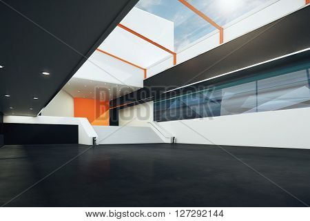 Sideview of futuristic room with stairs black floor orange and white walls. 3D Rendering