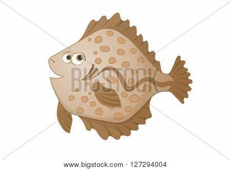 vector cartoon flatfish, hand drawn color illustration