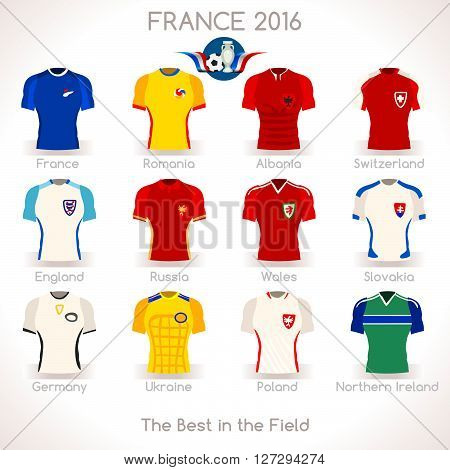 France EURO 2016 Championship Infographic Qualified Soccer Players. Football Game Jersey Apparel flags of final participating countries. Flat Icon. JPG. JPEG. Picture. Image. Graphic. Art. Illustration. Drawing. Object. Vector. EPS. AI.