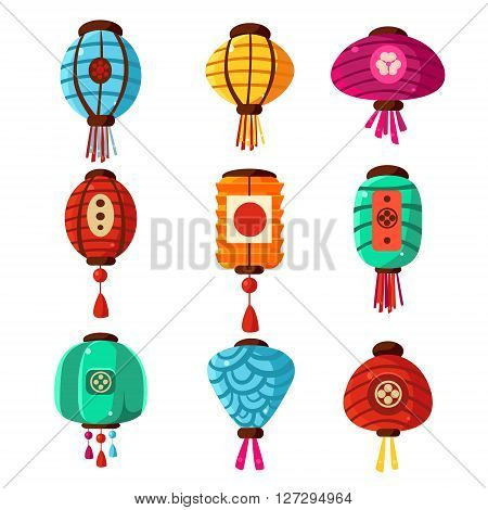 Chineese Lanters Decoration Colorful Fun Set Of Different Shape Objects Flat Vector Design