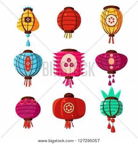 Chineese Lanters Decoration Colorful Fun Collection Of Different Shape Objects Flat Vector Design