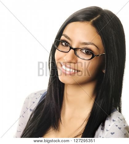 Young woman smiling wearing glasses
