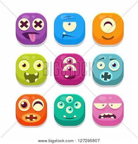 Monster Emoji  Colorful Bright Childish Cartoon Style Icons Set For Smartphone Flat Vector Design Isolated On White Background