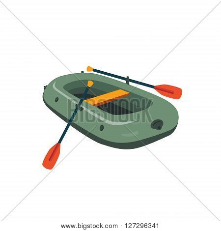 Inflatable Boat With Peddles Cartoon Simple Style Colorful Isolated Flat Vector Illustration On White Background