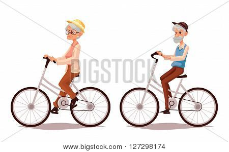 Mature couple riding bikes, cartoon illustration of two old people zhenschitsy men ride bicycles, old men and women involved in sports, old and the old ride bikes, isolated couple old people