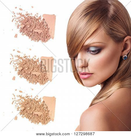 Beauty portrait of a young girl with loose powder isolated on white