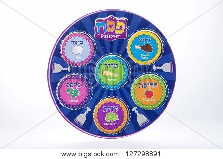 A Passover toy to teach the seder against a white background