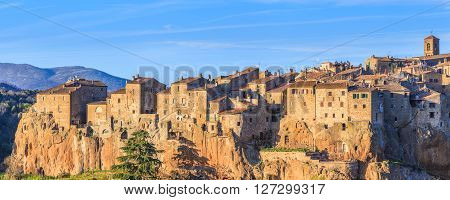 Pitigliano is a town and comune in the province of Grosseto, southern Tuscany. It as an ancient medieval hill town hanging from a tuff stone