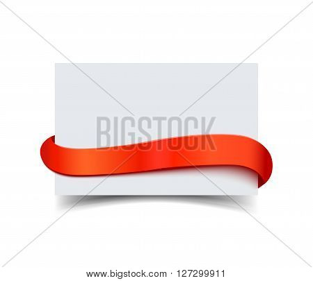Paper greeting card with curved red gift ribbon isolated on white. Realistic vector illustration of white paper note card with ribbon with space for text. Gift card for sale promo and advertising
