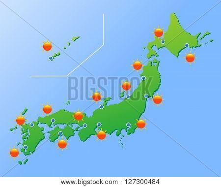 Asia Japan weather map, backdrop vector illustration