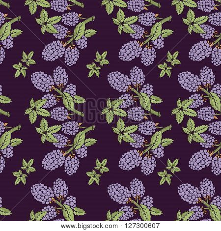Seamless pattern of blackberry with branch and leaves. Beautiful soft color patterns. The picture can be used on the packaging, printing, wallpaper, case for phone, menu
