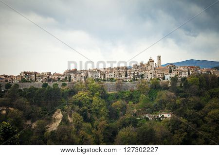 Saint Paul de Vence landscape, France - cloudy day