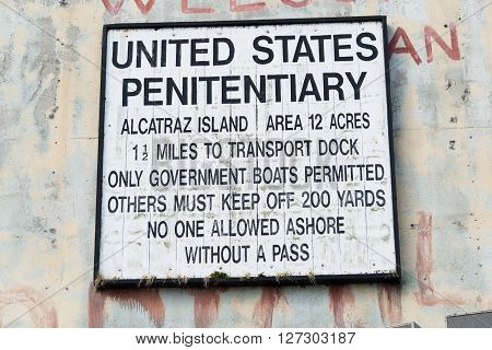 San Francisco, CA, May 13 2015: Alcatraz penitentiary exterior