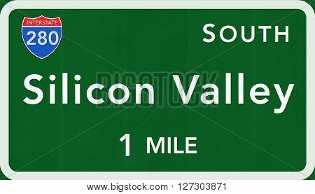 Silicon Valley Usa Interstate Highway Sign