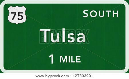 Tulsa Usa Interstate Highway Sign