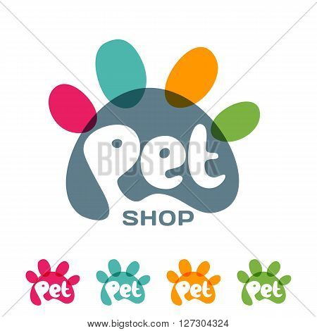 Vector logo emblem label design elements for pet shop zoo shop pets care and goods for animals. Hand drawn lettering in paw shape. Pet store signboard concept with.