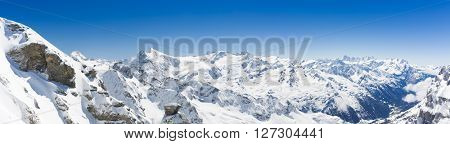 Panoramic View On Switzerland Mountain Landscape, Mountains in Lucerne Area, Swiss alps, Titlis, Switzerland