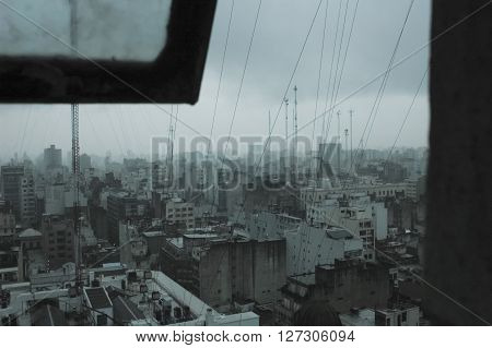 View of a city and its greyness