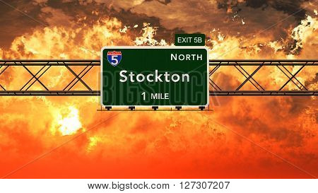 Stockton Usa Interstate Highway Sign In A Beautiful Cloudy Sunset Sunrise