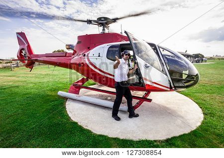 PORT CAMPBELL AUSTRALIA - MARCH 20 2011: Helicopter pilot from