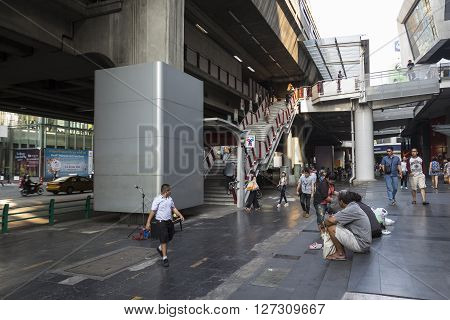 BANGKOK THAILAND - mar 5 : unidentified thai people at siam square shopping street near BTS siam station on march 5 2016 thailand. Siam square is famous shopping place of Bangkok