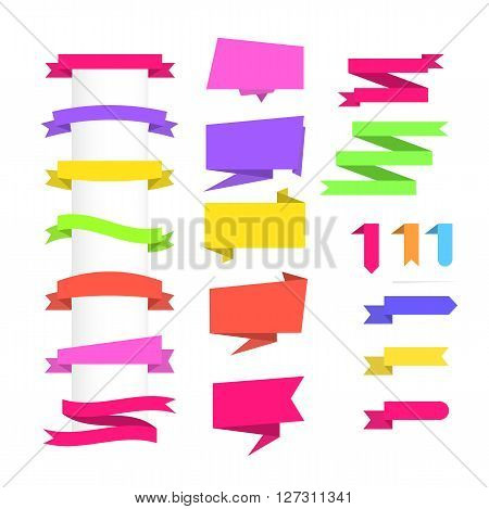 Set of colored Banners of ribbons. Set of Banners on white background. Banners Sale Labels. Banners for web site. Banners Vector illustration. Banners flat Graphic. Banners Object. Banners for design.
