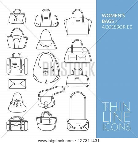 Women's bags and accessories. Set with thin line icons. Vector illustration. EPS 10