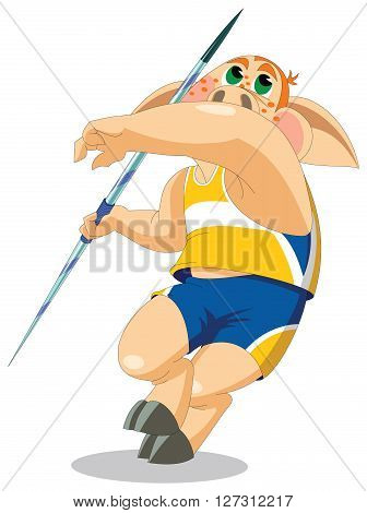 A big and strong piglet is javelin thrower