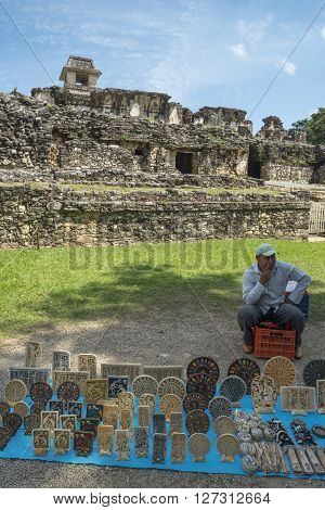 Craftsman Sells Decoration At Palenque In Mexico