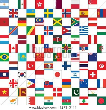 checkerboard pattern with world flag icons vector illustration
